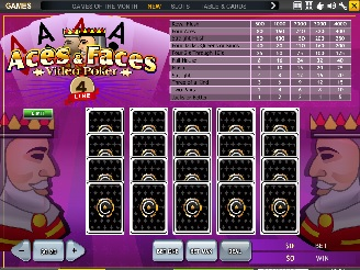 Play 4 Line Aces and Faces Video Poker Online