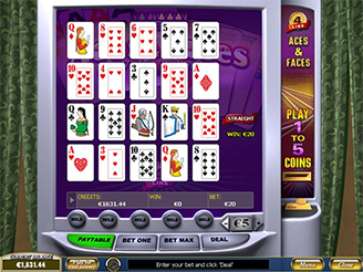 Play Aces and Faces Videopoker Online at Casino.com Australia