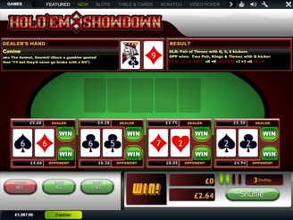 Play Hold'em Showdown Arcade Game at Casino.com UK
