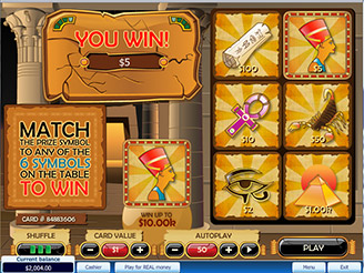 Play Pharaohs Kingdom Scratch Cards at Casino.com