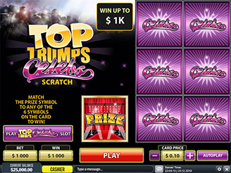 Play Top Trumps Celebs Scratch at Casino.com UK